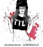 hip hop swag girl | Shutterstock .eps vector #638586313