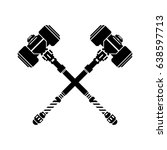 medieval crossed hammers icon. | Shutterstock .eps vector #638597713