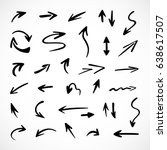 hand drawn arrows  vector set | Shutterstock .eps vector #638617507