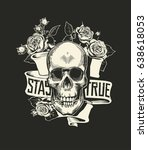human skull with rose flower in ...