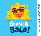 summer sale  summer sun with... | Shutterstock .eps vector #638623243