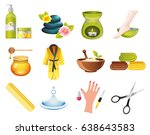 beauty and spa relax icons set. ... | Shutterstock .eps vector #638643583