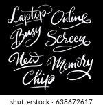 online and memory hand written... | Shutterstock .eps vector #638672617