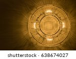 luxury of a golden circle lamp... | Shutterstock . vector #638674027