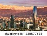 skyline of santiago de chile at ... | Shutterstock . vector #638677633