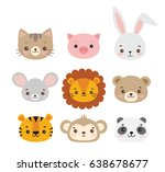 Stock vector set of vector animal faces illustrations of cute animal heads smiling animals children cartoons 638678677