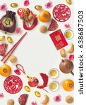 "Small photo of Chinese new year decorative item with ""prosperity"" wording and food on white background. Flat lay text space image."