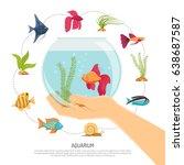 aquarium background with flat... | Shutterstock .eps vector #638687587