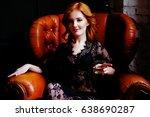 dramatic sensual redhead woman... | Shutterstock . vector #638690287