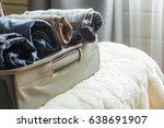 open suitcase with males... | Shutterstock . vector #638691907