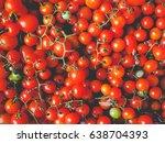 cherry tomatoes  solanum... | Shutterstock . vector #638704393
