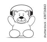 happy cartoon bear with headset ...   Shutterstock .eps vector #638726863