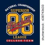 baseball ball and bats on... | Shutterstock .eps vector #638743633