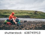 a girl is putting back on her... | Shutterstock . vector #638745913