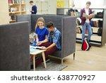 clever guy explaining task to... | Shutterstock . vector #638770927