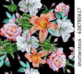 seamless pattern with flowers.... | Shutterstock . vector #638780617