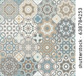 set of vector seamless arabic... | Shutterstock .eps vector #638784253