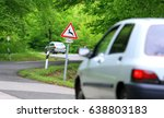 traffic in forest road with... | Shutterstock . vector #638803183
