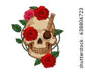 creative gothic skull with... | Shutterstock .eps vector #638806723