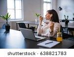 woman relaxing after work ... | Shutterstock . vector #638821783