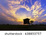 silhouette cottage with... | Shutterstock . vector #638853757