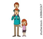 color image caricature dad with ... | Shutterstock .eps vector #638863267