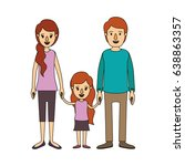 color image caricature family... | Shutterstock .eps vector #638863357