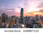 cityscape of bangkok city at... | Shutterstock . vector #638887123