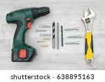 a cordless drill  a wrench ... | Shutterstock . vector #638895163
