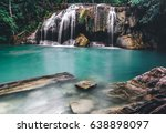 waterfall in forest of... | Shutterstock . vector #638898097