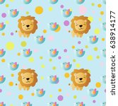 seamless pattern with cartoon... | Shutterstock .eps vector #638914177