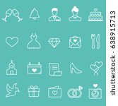 wedding line icons | Shutterstock .eps vector #638915713