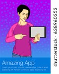 young woman holding tablet pc.... | Shutterstock .eps vector #638960353