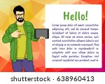 handsome man showing something... | Shutterstock .eps vector #638960413