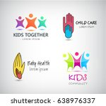 vector set of kids logos ... | Shutterstock .eps vector #638976337