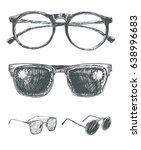 set of eyeglasses and... | Shutterstock .eps vector #638996683