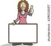 woman with a signboard | Shutterstock .eps vector #639010057