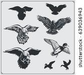 set of birds. ravens  eagles... | Shutterstock .eps vector #639036943