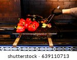 cooking the red pepper on the...   Shutterstock . vector #639110713