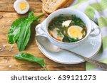 Sorrel Soup In A White Bowl ...