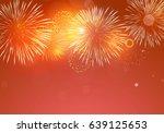 golden fireworks on red... | Shutterstock .eps vector #639125653
