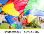 happy friends playing rainbow... | Shutterstock . vector #639153187