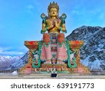 Small photo of Biggest Maitreya Buddha - The photo was taken just before the sunset in Diskit Village. We had to rush to see this Tibetan marvel, Buddha. And yes it is one of the biggest Buddha Statue in Ladakh.