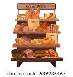 colorful hand drawn bakery shop ... | Shutterstock .eps vector #639236467