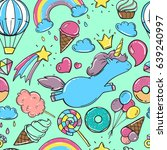 unicorn sweet set of stickers ... | Shutterstock .eps vector #639240997