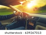 sunset scenery car drive. wide... | Shutterstock . vector #639267013
