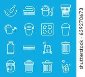 bucket icons set. set of 16... | Shutterstock .eps vector #639270673