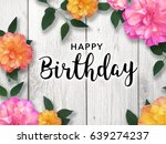 happy birthday message with... | Shutterstock . vector #639274237