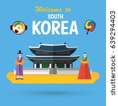 flat design  south korea... | Shutterstock .eps vector #639294403
