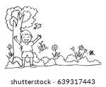 cute cartoon boy playing... | Shutterstock .eps vector #639317443